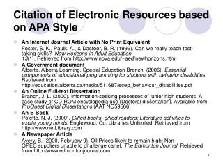 Citation of Electronic Resources based on APA Style