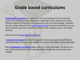 Grade Based Curriculums