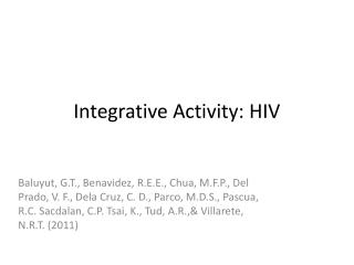 Integrative Activity: HIV