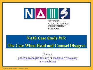 Contact:  governancehelp@nais  or  leadership@nais nais