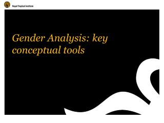 Gender Analysis: key conceptual tools