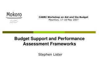 Budget Support and Performance Assessment Frameworks