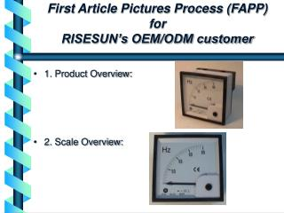 First Article Pictures Process FAPP for RISESUN s OEM