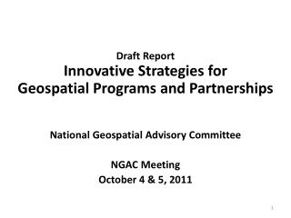 Draft Report  Innovative Strategies for  Geospatial Programs and Partnerships