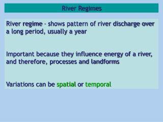 River Regimes