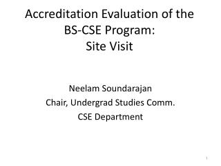 Accreditation Evaluation of the BS-CSE Program: Site Visit