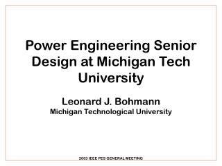 Power Engineering Senior Design at Michigan Tech University