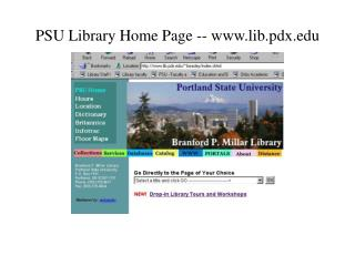 PSU Library Home Page -- lib.pdx