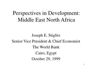 Perspectives in Development: Middle East North Africa