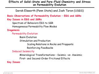Basic Observations of Permeability Evolution – EGS and SGRs Key Issues in EGS and SGRs