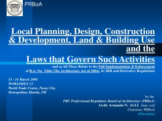 Local Planning, Design, Construction & Development, Land & Building Use and the