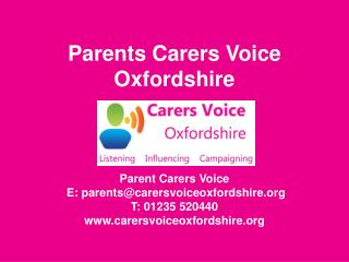 Parents Carers Voice Oxfordshire