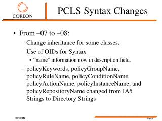 PCLS Syntax Changes