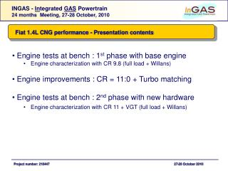 Fiat 1.4L CNG performance - Presentation contents