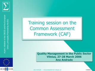 Training session on the Common Assessment Framework (CAF)