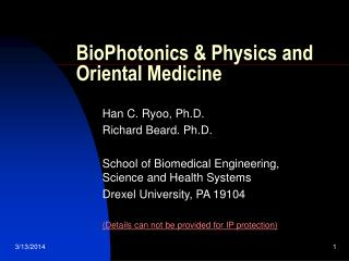BioPhotonics & Physics and Oriental Medicine