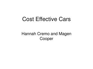 Cost Effective Cars