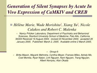 Generation of Silent Synapses by Acute In Vivo Expression of CaMKIV and CREB