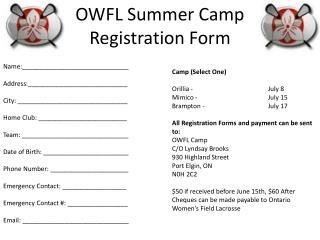 OWFL Summer Camp Registration Form
