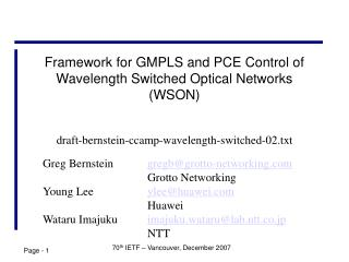 Framework for GMPLS and PCE Control of Wavelength Switched Optical Networks (WSON)