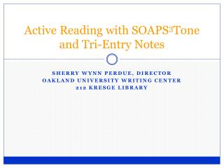 Active Reading with SOAPS 3 Tone and Tri-Entry Notes