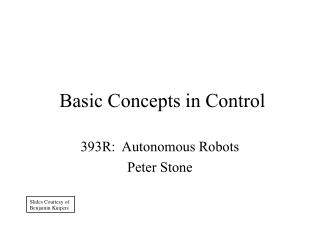 Basic Concepts in Control