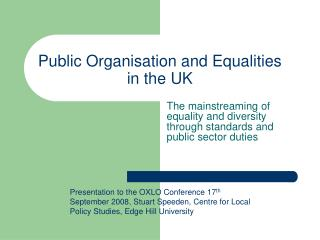 Public Organisation and Equalities in the UK