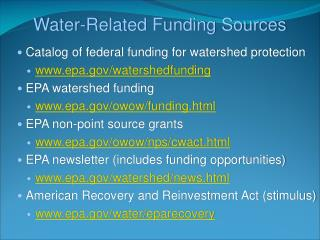 Water-Related  Funding Sources