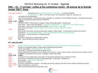 PEOPLE Workshop 26- 27 October - Agenda