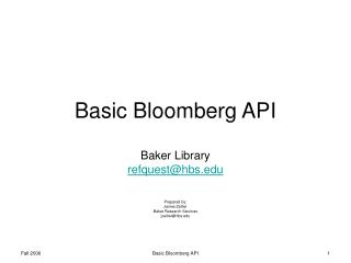 Basic Bloomberg API