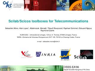 Scilab/Scicos toolboxes for Telecommunications