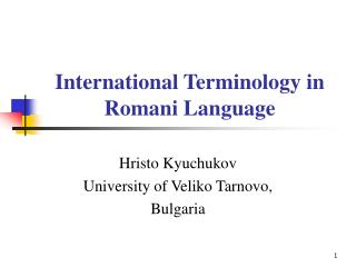 International Terminology in Romani Language