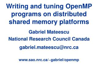 Writing and tuning OpenMP programs on distributed shared memory platforms