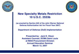 New Specialty Metals Restriction 10 U.S.C. 2533b