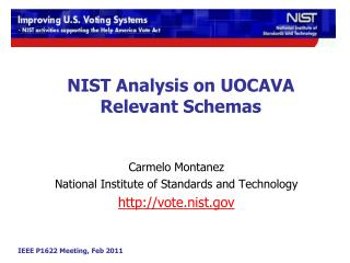 NIST Analysis on  UOCAVA  Relevant Schemas
