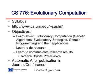 CS 776: Evolutionary Computation