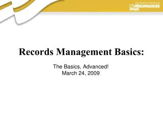 Records Management Basics:
