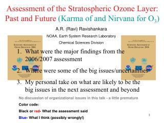 Assessment of the Stratospheric Ozone Layer: Past and Future  (Karma of and Nirvana for O 3 )