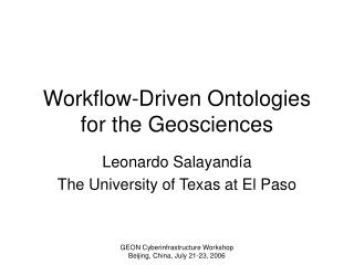 Workflow-Driven Ontologies for the Geosciences