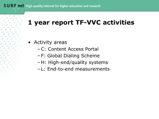 1 year report TF-VVC activities