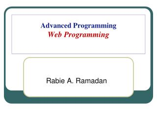 Advanced Programming Web Programming