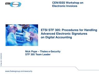 ETSI STF 305: Procedures for Handling  Advanced Electronic Signatures on Digital Accounting