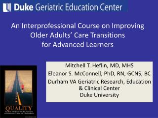 An Interprofessional Course on Improving Older Adults' Care Transitions for Advanced Learners