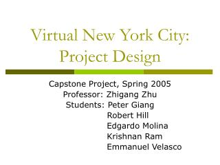 Virtual New York City: Project Design
