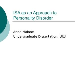 ISA as an Approach to Personality Disorder