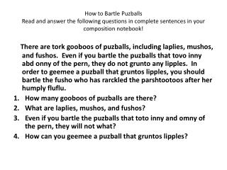 How to Bartle Puzballs ONLY