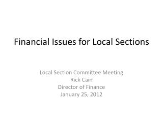 Financial Issues for Local Sections