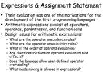 Expressions  Assignment Statement