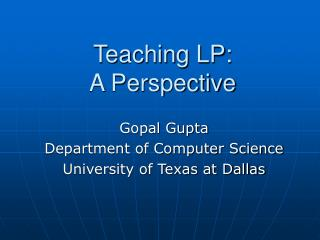 Teaching LP: A Perspective