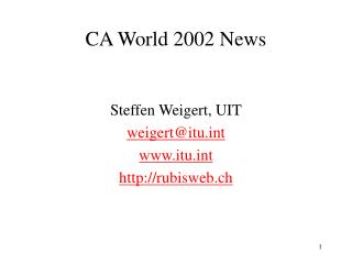 CA World 2002 News